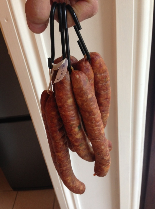 Cold smoked chorizo after hanging
