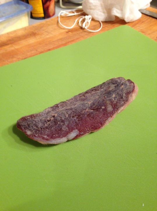 Duck prosciutto after hanging